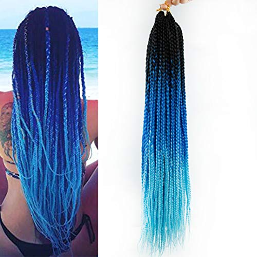 Box Braids Crochet Hair 6Packs Crochet Box Braids Pre-looped Synthetic Hair Crotchet Box Braids Hair 22 Inch (Ombre Blue)