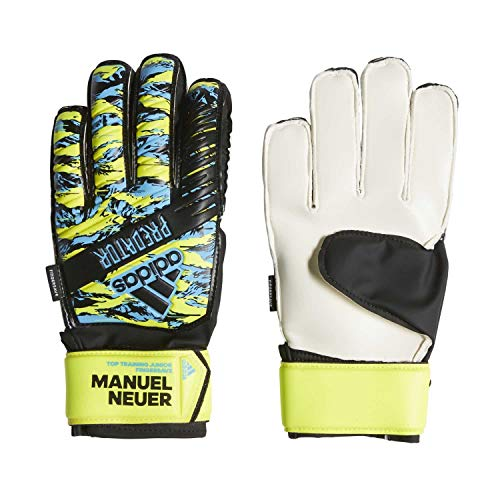 adidas Kinder Predator Manuel Neuer Top Training Fingersave Junior Torwarthandschuhe, solar Yellow/Bright Cyan/Black, 7