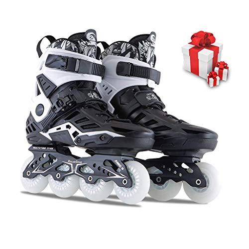Adult Inline Skates einreihig Skates, männlich und weiblich Anfänger Profi Roller Skates Speed Skating-Schuhe (schwarz und weiß) (Farbe: Schwarz, Größe: EU 38 / US 6 / UK 5 / JP 24cm) dongdong
