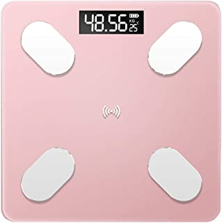 UYZ Báscula de Peso Bluetooth Profesional Peso del Piso Báscula Antideslizante de baño Báscula de Pantalla retroiluminada Inteligente Peso Corporal Duradero (Color: Oro Rosa)