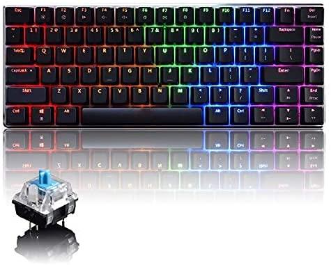 UrChoiceLtd AK33 Tastiera da Gioco Meccanica Anti-Ghosting Tastiera USB ergonomica con 82 Tasti Interruttore Nero retroilluminato a LED RGB (Interruttore Blu, LED RGB)