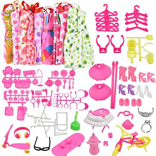 Pinsheng 118 Piezas Accesorios para Muñecas Dolls, Incluyen 10 Mini Vestidos de Moda para Dolls+108 Accesorios para Muñecas Incluyen Zapatos, Bolsos, Collares, Colgador Regalo de Cumpleaños Niñas