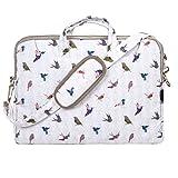 TaylorHe Funda para portátil (15' / 40cm) bolso de bandolera para 15'-15,6' portátiles Laptop con bolsillos laterales para accesorios, pájaros, verde