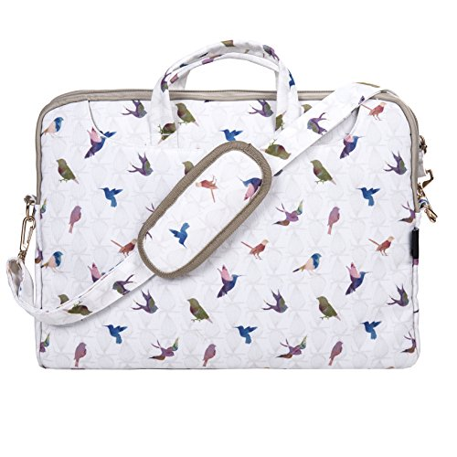 TaylorHe 15.6 inch 15 inch 16 inch Poly Canvas Laptop Shoulder Bag with Patterns, Side Pockets Handles and Detachable Strap Colourful Birds