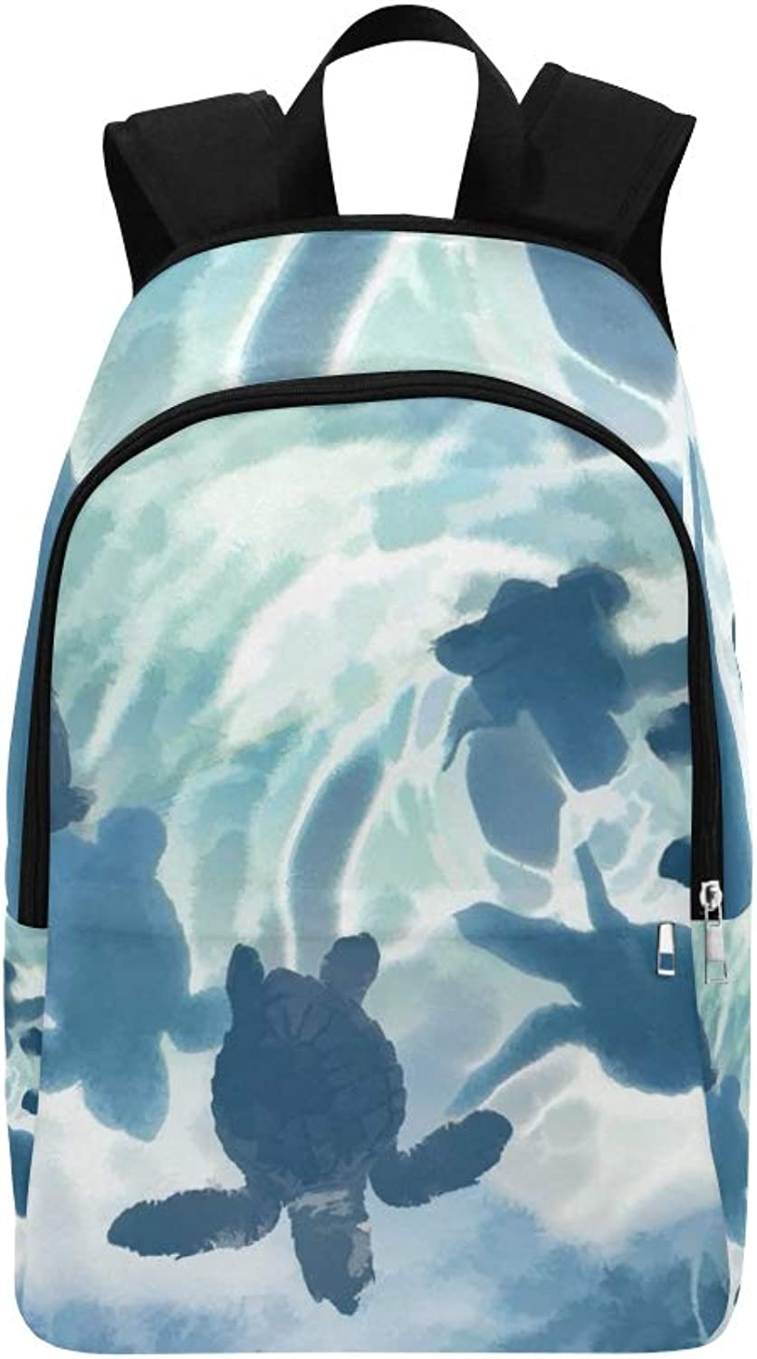 Digital Sea Turtles blueee Small Casual Daypack Travel Bag College School Backpack for Mens and Women