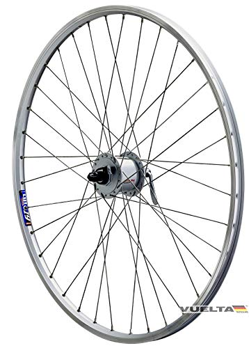 Vuelta 28 Zoll Fahrrad Laufrad Vorderrad Hohlkammerfelge Cut 19 Shimano Nabendynamo DHC30003 inkl. Schnellspanner Silber für V-Brakes/Felgenbremse