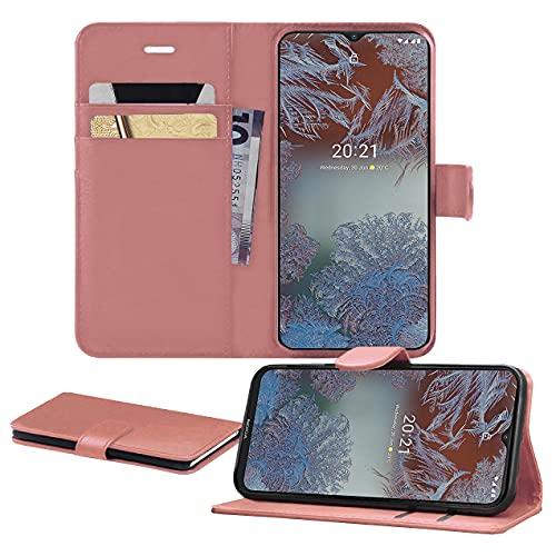 iPro Accessories Funda para Nokia G10, funda para teléfono Nokia G10, funda de piel sintética de primera calidad con ranuras para tarjetas, función atril, cierre magnético, para Nokia G10 (oro rosa)