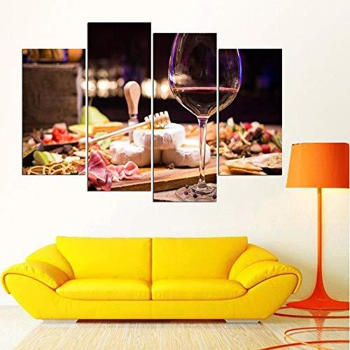 IOIP Cuadro En Lienzo 4 Piezas Impresiones sobre Lienzo Vino y Queso ImpresióN HD Pintura 4 Piezas Modernos Salón Decoracion Murales Pared Lona XXL Hogar Dormitorios Decor
