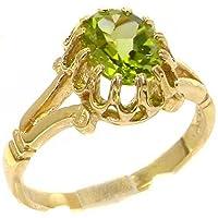 英国製(イギリス製) K10 イエローゴールド 天然 ペリドット レディースソリティア リング 指輪 各種 サイズ あり