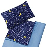 Kids Fleece-Lined Sleeping Bag and Pillow Cover, Blue Yellow Stars Constellation Youth Boys Indoor Outdoor Camping Slumber Parties