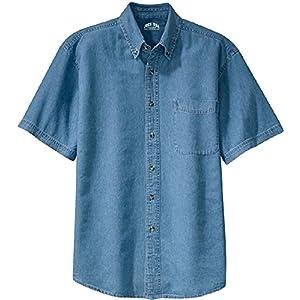 Men's Short Sleeve Denim Shirts in Sizes XS-6XL
