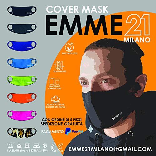 Emme 21 gezichtsmasker van stof, wasbaar, van lycra, elastisch, herbruikbaar, kleurrijk, stofdicht en speekselbestendig, dekt medische maskers af, medium neon-oranje