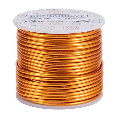 BENECREAT 10 Gauge/2.5mm Goldschmuck Basteldraht 24.5m Anlaufbeständiger biegsamer Aluminium Metalldraht für Schmuckhandwerksperlen