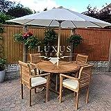 Luxus Home And Garden - Juego de muebles de jardín (120 cm, mesa redonda, 4 sillas apilables, cojines incluidos)