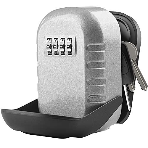 Diyife Caja De Seguridad Para Llaves,[Montada en la pared]Llave de Combinación Exterior Impermeable,Caja de Bloqueo de Almacenamiento Seguro con Tapa Deslizante Para Home Garage School Airbnb