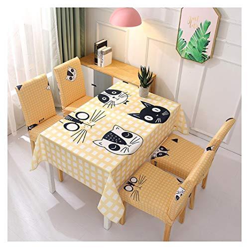 Tovaglia Rettangolare Impermeabile Facile Manutenzione Cotone Lino Decorativo Copritavolo Cucina Sala da Pranzo Festa Tovaglia Panno della Sedia Set Due coperture per sedie Giallo