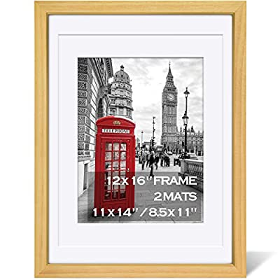 12x16 Picture Frames Made of Solid Wood Display Pictures 11X14 or 8.5x11 with Mat or 12x16 Without Mat for Wall and Table Top - Picture Frame Matted for 11X14 Mounting Hardware Included 1 Pack