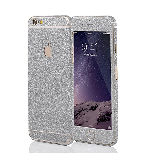 LAMINGO Glitzerfolie Glitter Skin Diamond Sticker Klebefolie für iPhone 6 Plus, 6s Plus in Silber