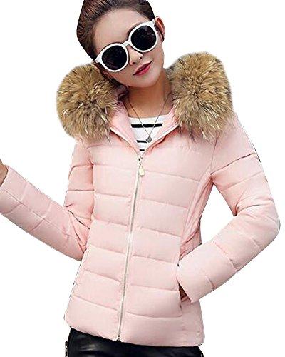 Daunenjacke Damen Jacke Parka mit Kapuze Mit Fell Kapuze Outdoor Daunenmantel Wintermantel Pink M