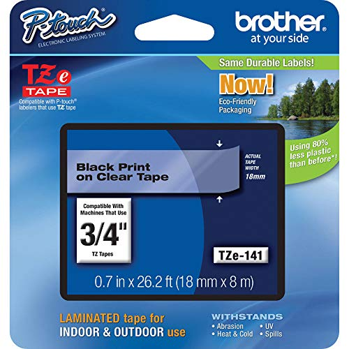 Brother Genuine P-Touch TZE-141 Tape, 3/4 (0.7) Standard Laminated P-Touch Tape, Black on Clear, Laminated for Indoor or Outdoor Use, Water-Resistant, 26.2 ft (8 m), Single-Pack