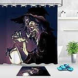 zhanghui2018 Halloween Evil Hexe Polyester Badezimmer Set Duschvorhang Größe: 180 x 180 cm Badteppich Größe: 60 x 40 cm