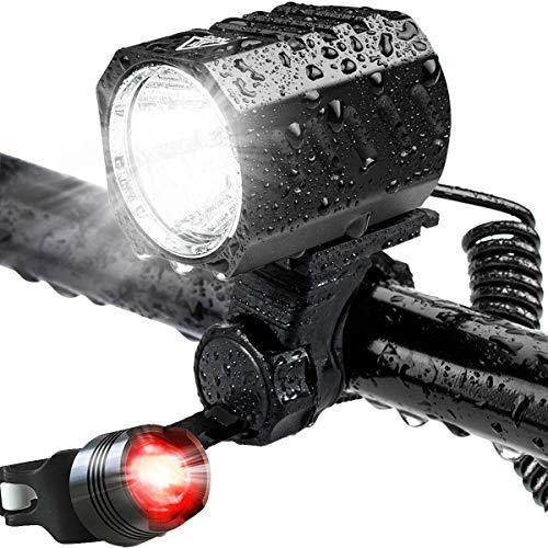 Leynatic - Kit de luz LED para bicicleta, recargable por USB, impermeable, superbrillante, potente 1200 lúmenes, iluminación para bicicleta de montaña y juego de iluminación delantera y trasera