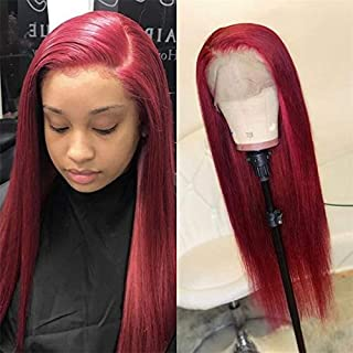PiliPili hair Brazilian Virgin Human Hair Straight Full Lace Wigs Red Color 130% Density Pre Plucked Glueless Lace Wigs with Baby Hair for Black Women (20 Inch, Lace Front Wig)