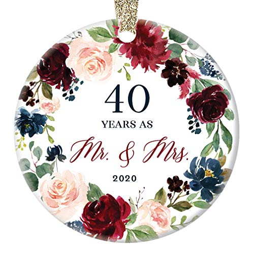 40 Forty Years Married Mr. & Mrs. 2020 Christmas Ornament Keepsake Gift 40th Wedding Anniversary Husband & Wife Pretty Ceramic Holiday Decoration Present Porcelain 3' Flat with Gold Ribbon Free Box