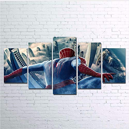 Gravures Photos Accueil Art Graphique Modulaire Affiche 5 Panneau Animation Spider Man Peinture Sur Toile Salon Décoratif Cadre