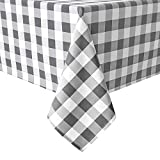 Hiasan Checkered Tablecloth Rectangle - Stain Resistant, Waterproof and Washable Table Cloth Gingham for Outdoor Picnic, Holiday Dinner, 60 x 120 Inch, Grey and White