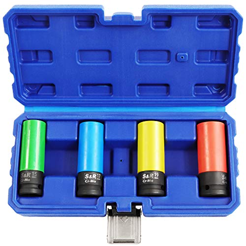 S&R Bussole per Cerchi in Lega al Cromo-Molibdeno. Dadi 1/2 (12,5 mm). Bussole per Chiave a impulsi Avvitatore a Impatto (Set 4 pz)