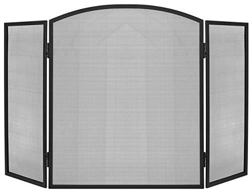 Kaminer 3-seitiger Kaminschirm Kaminfunkenschutz Funkengitter Schwarz Bild
