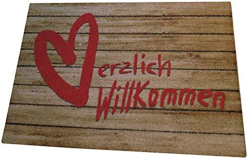 """Felpudo con mensaje en alemán """"Herzlich Willkommen 50 x 70 cm, con corazón, color rojo"""