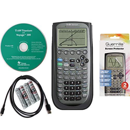 Texas Instruments TI 89 Titanium Grafierrechner mit Guerrilla Military Grade Displayschutzfolie Set Zertifiziert, nachgerüstet