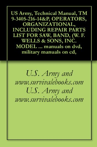 US Army, Technical Manual, TM 9-3405-216-14&P, OPERATORS, ORGANIZATIONAL, INCLUDING REPAIR PARTS LIST FOR SAW, BAND, (W. F. WELLS & SONS, INC. MODEL L-9), ... military manuals on cd, (English Edition)