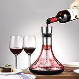 Glastal Wein Dekanter Kristallglas Dekantierer mit Eingebautem Aerator Belüften und Filtern, Tropffreies Eingießen 1800ml/63.3oz(Volle Kapazität) - 2