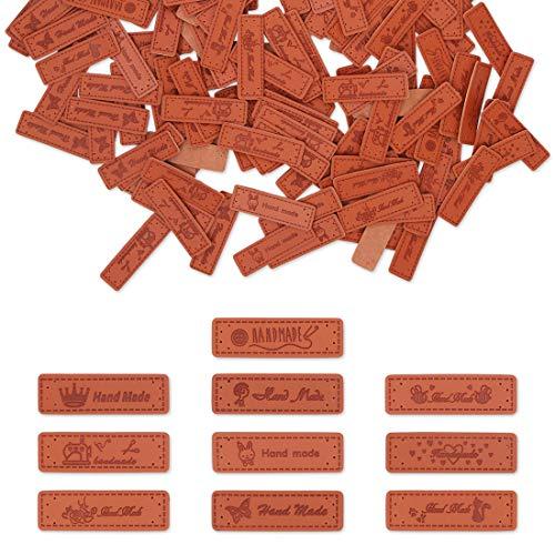 200 etiquetas de cuero hechas a mano, etiquetas de cuero, etiquetas de ropa, etiquetas en relieve hechas a mano con agujeros para vaqueros, bolsos, zapatos, sombreros (14 estilos)