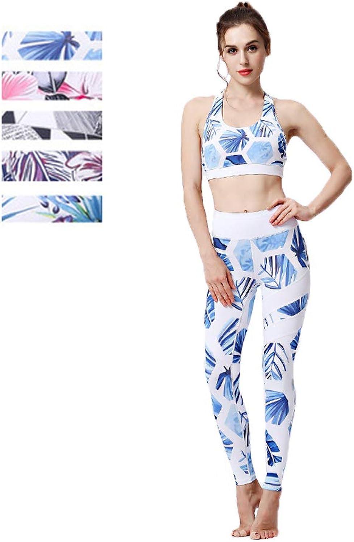 Yoga Clothing Female TwoPiece Sports QuickDrying Bra Fitness Capri Tights Printing Movement