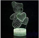 lámpara de ilusión 3D lámpara de ilusión óptica para Juego de logos de osos Decoración Del Hogar Regalo De Cumpleaños Para Niños Habitación De Niños Con interfaz USB, cambio de color colorido