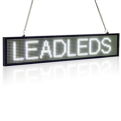 Leadleds Ultra-Thin Design P5mm 16X96 pixels SMD LED programmable message de défilement panneau de signe, PC Software change messages (Blanc)