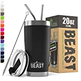 Greens Steel Beast 20oz Tumbler Insulated Stainless Steel Coffee Cup with Lid, 2 Straws, Brush & Gift Box (20 oz, Matte Black)