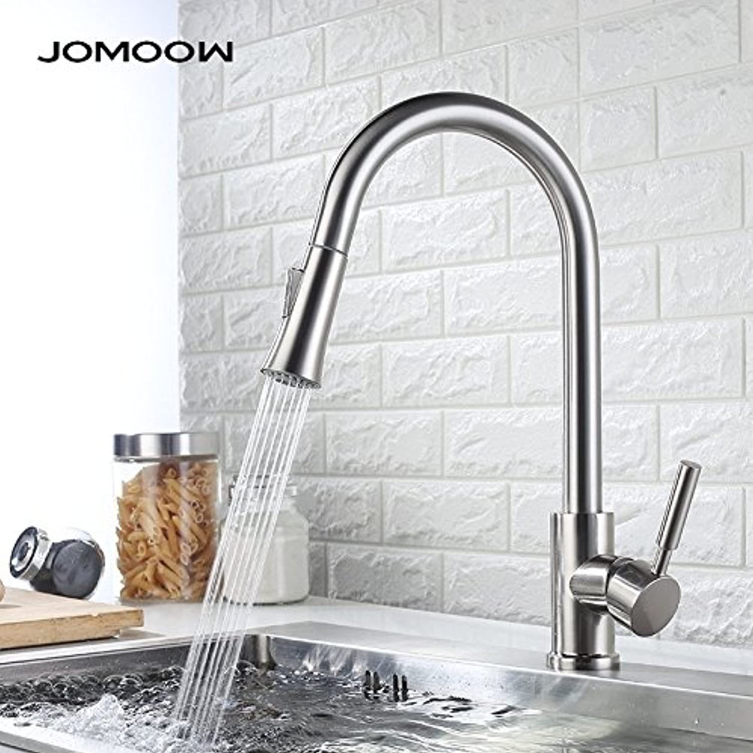 Decorry Cold Drawing The Whole Kitchen Faucet Mixer 304 Stainless Steel Vegetables Basin Faucet Copper redatable Ceramic Valve Core, F-BIS Paragraph Drawing Water