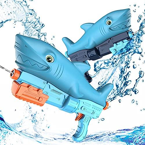 【2021進化版】水鉄砲 Pemoko 800cc大容量*【2本セット】 ウォーターガン 可愛いサメデザイン 飛び距離7-8m 水てっぽう 水撃ショット 軽量 子供おもちゃ プール お風呂 夏祭り 水遊び 加圧式水ピストル お子さんにプレゼント 2個セット