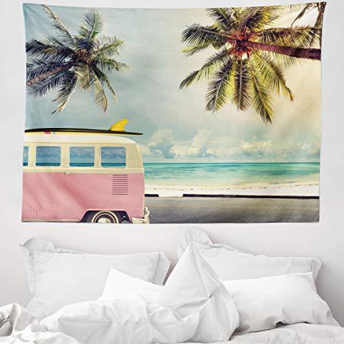 ABAKUHAUS Surf Tapiz de Pared y Cubrecama Suave, Minivan en la Playa Inspiración Retro Vacaciones Nubes en Cielo de Verano Luna de Miel, No se Desliza de la Cama, 150 x 110 cm, Multicolor