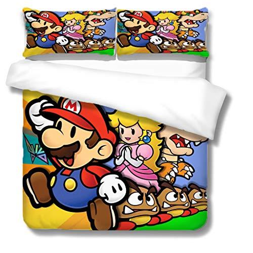 Zbeiba 3D Super Mario Bedding Set,2/3pieces Kids Bedding Set 100% Polyester (Duvet Cover + Pillowcase),#2,single duvet cover,135 * 200cm, Pillowcase 50x70cm