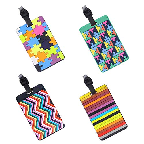 EQLEF® Set von 4 hübschen, sicheren Gepäckanhängern aus PVC für Koffer, Gepäckanhänger, Visitenkartenhalter/Reise-Ausweis-Taschen