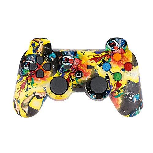 Haihuic PS3 Mando inalámbrico, Bluetooth Controlador Joystick de Doble Vibración SixAxis Gamepad para Playstation 3
