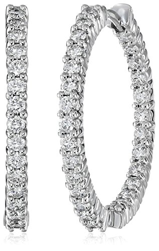Roberto Coin Perfect Diamond 18k White Gold Hoop Earrings (1 1/2cttw, G-H Color, SI1 Clarity)