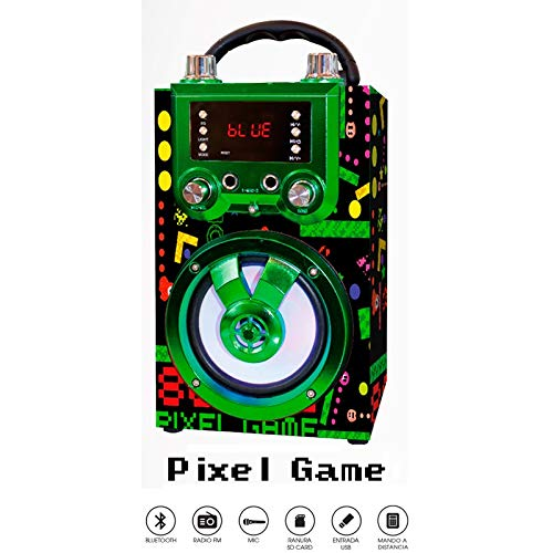 Altavoz portátil con función BLUETOOTH y KARAOKE. Cuenta con pantalla LED y luces disco. Incluye micrófono, mando a distancia y adaptador de carga USB. Disponible en 4 divertidos modelos. (PIXEL GAME)