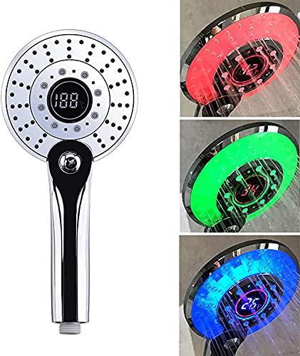 LED Duschkopf, Duschkopf Regendusche LED 3 Farben Farbwechsel Temperaturregelung, Handbrause mit Digital Temperaturanzeige, Handbrause Duschkopf Gross, Wassersparend, Druckerhöhend Brausekopf
